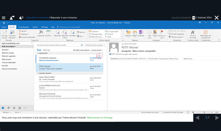 Capture d'écran du module Outlook 2016