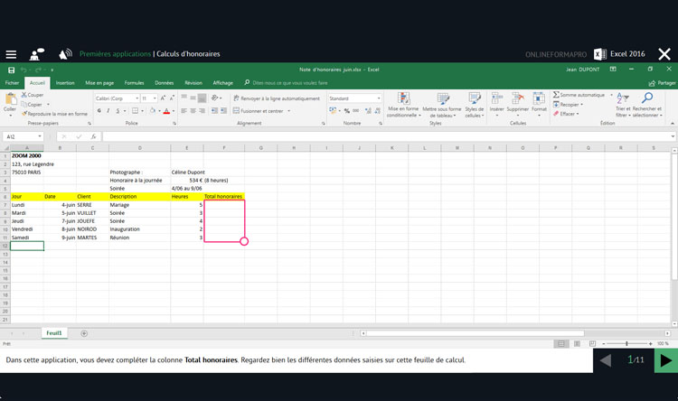 Capture d'écran du module Excel 2016